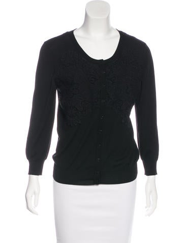 Dolce & Gabbana Lace-Trimmed Wool Cardigan None