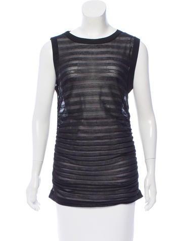 Dolce & Gabbana Mesh Striped Knit Top None