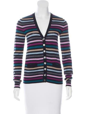 Dolce & Gabbana Virgin Wool Striped Cardigan None