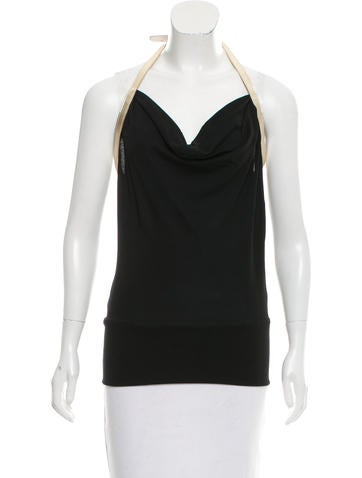 Dolce & Gabbana Sleeveless Leather-Trimmed Top None