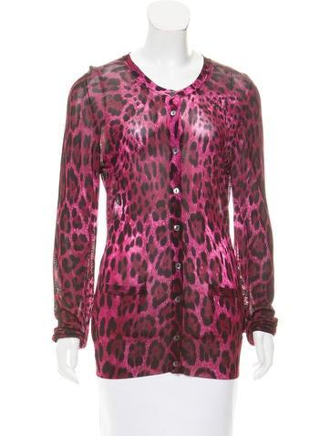 Dolce & Gabbana Cheetah Printed Knit Cardigan None