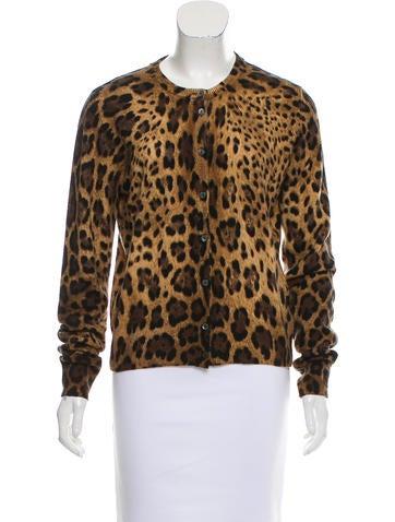Dolce & Gabbana Leopard Printed Cashmere Cardigan None