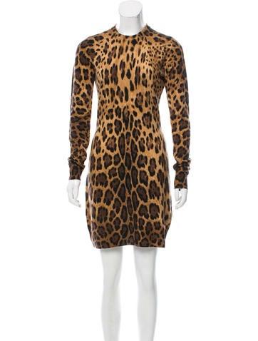 Dolce & Gabbana Cashmere Leopard Print Dress None