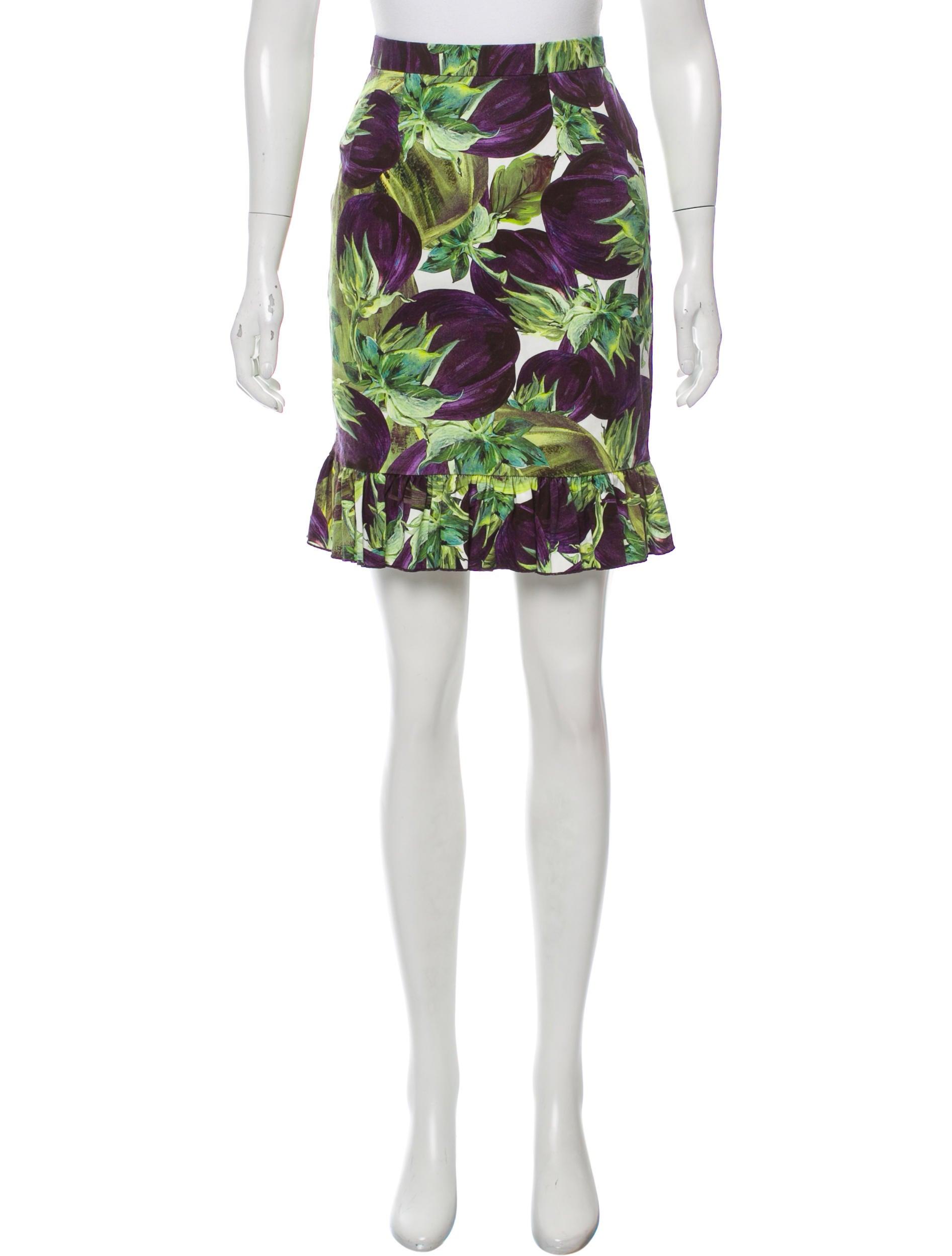 dolce gabbana eggplant print pencil skirt clothing