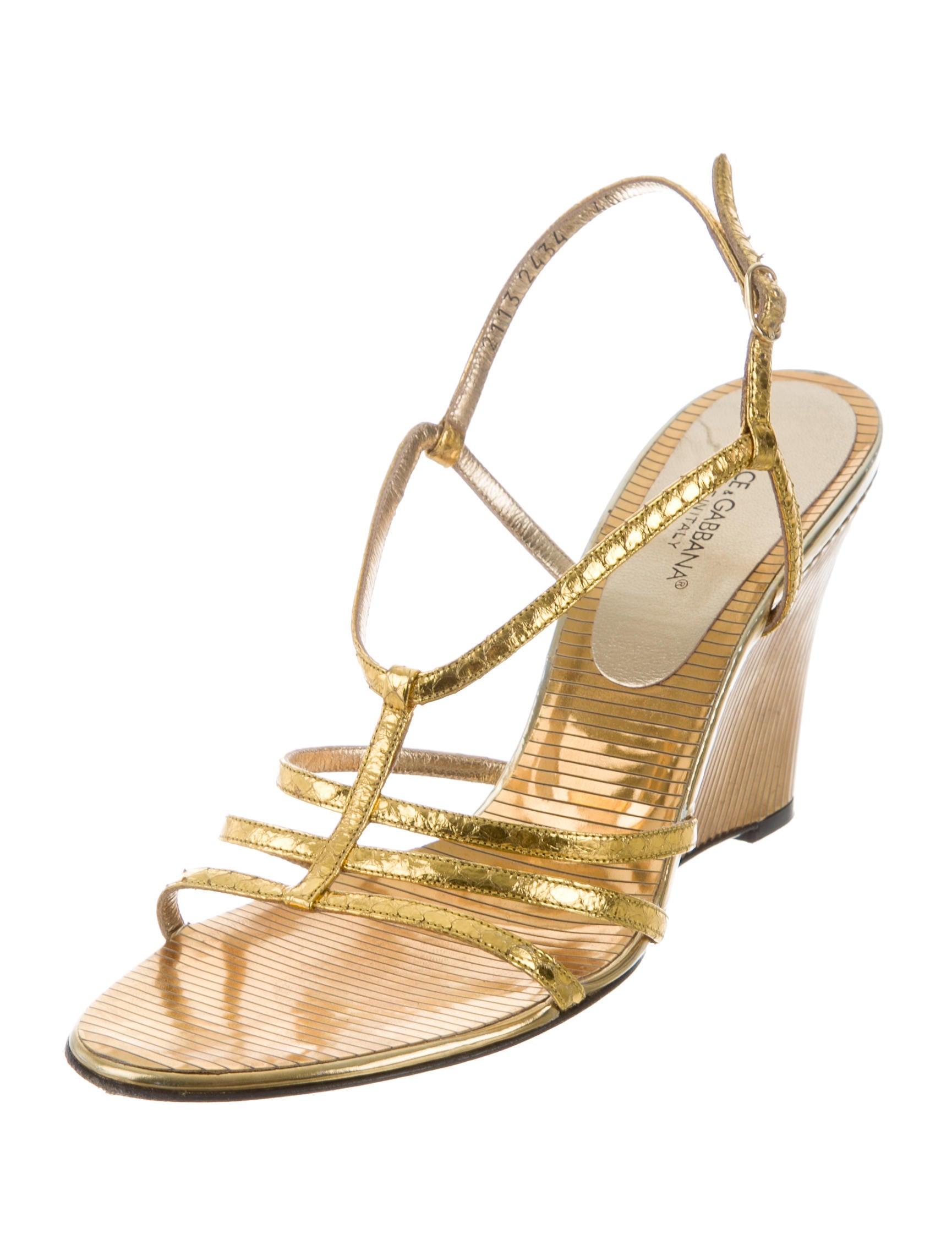 dolce amp gabbana metallic wedge sandals shoes dag89760