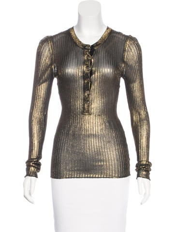 Dolce & Gabbana Metallic Rib Knit Top None