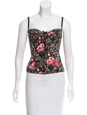 Dolce & Gabbana Floral Print Lace-Trimmed Bustier None