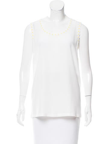 Dolce & Gabbana Daisy Appliqué-Trimmed Silk Top w/ Tags None