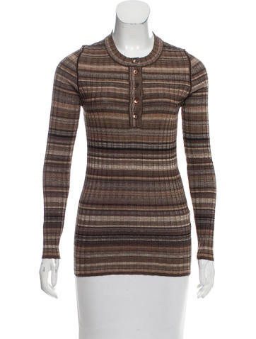 Dolce & Gabbana Striped Wool Top None