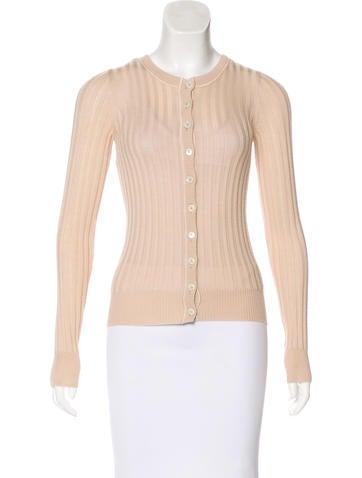 Dolce & Gabbana Long Sleeve Rib Knit Cardigan None