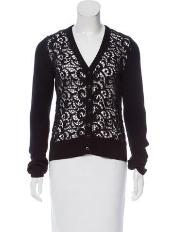Dolce & Gabbana Lace-Panel Knit Cardigan None