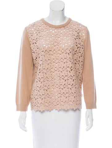 Dolce & Gabbana Lace-Paneled Sweater None
