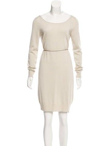 Dolce & Gabbana Metallic Wool-Blend Dress None