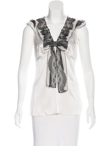 Dolce & Gabbana Silk Lace-Trimmed Top None