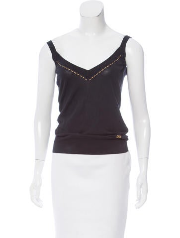 Dolce & Gabbana Sleeveless Chain-Accented Top None