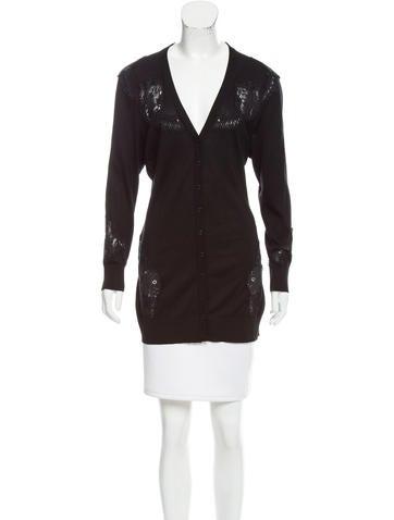 Dolce & Gabbana Lace-Paneled Silk Cardigan None