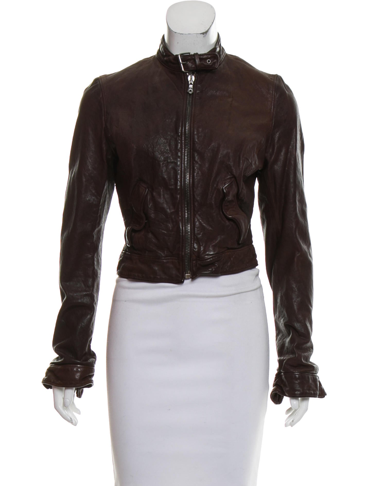 dolce gabbana leather zip up jacket clothing dag93157 the realreal. Black Bedroom Furniture Sets. Home Design Ideas