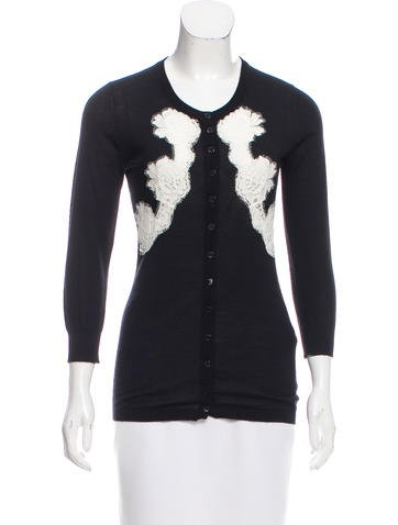 Dolce & Gabbana Lace-Accented Cashmere Cardigan None