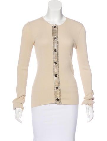 Dolce & Gabbana Rib Knit Snakeskin-Trimmed Top None