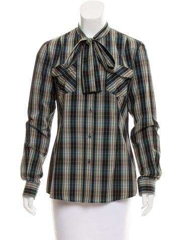 Dolce & Gabbana Plaid Button-Up Top w/ Tags None