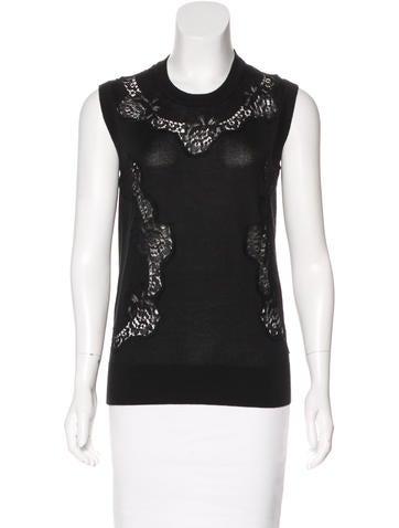 Dolce & Gabbana Lace-Trimmed Cashmere Sweater None