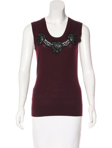Dolce & Gabbana Virgin Wool Lace-Accented Top None