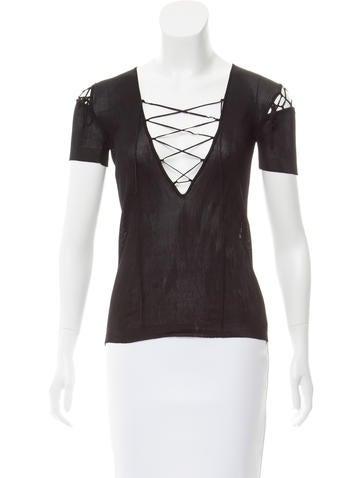 Dolce & Gabbana Lace-Up Rib Knit Top None