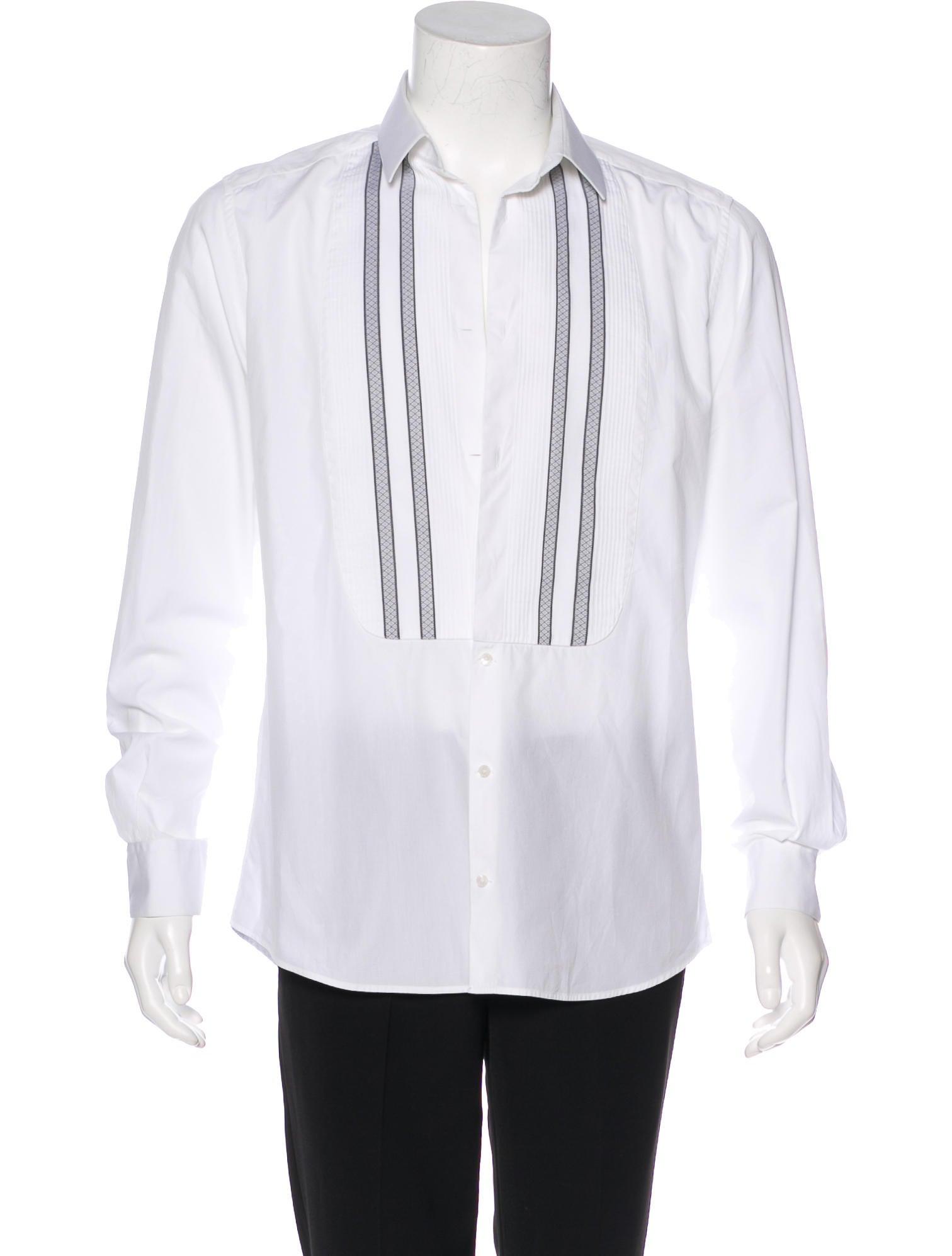 Dolce gabbana striped french cuff tuxedo shirt for Tuxedo shirt french cuff
