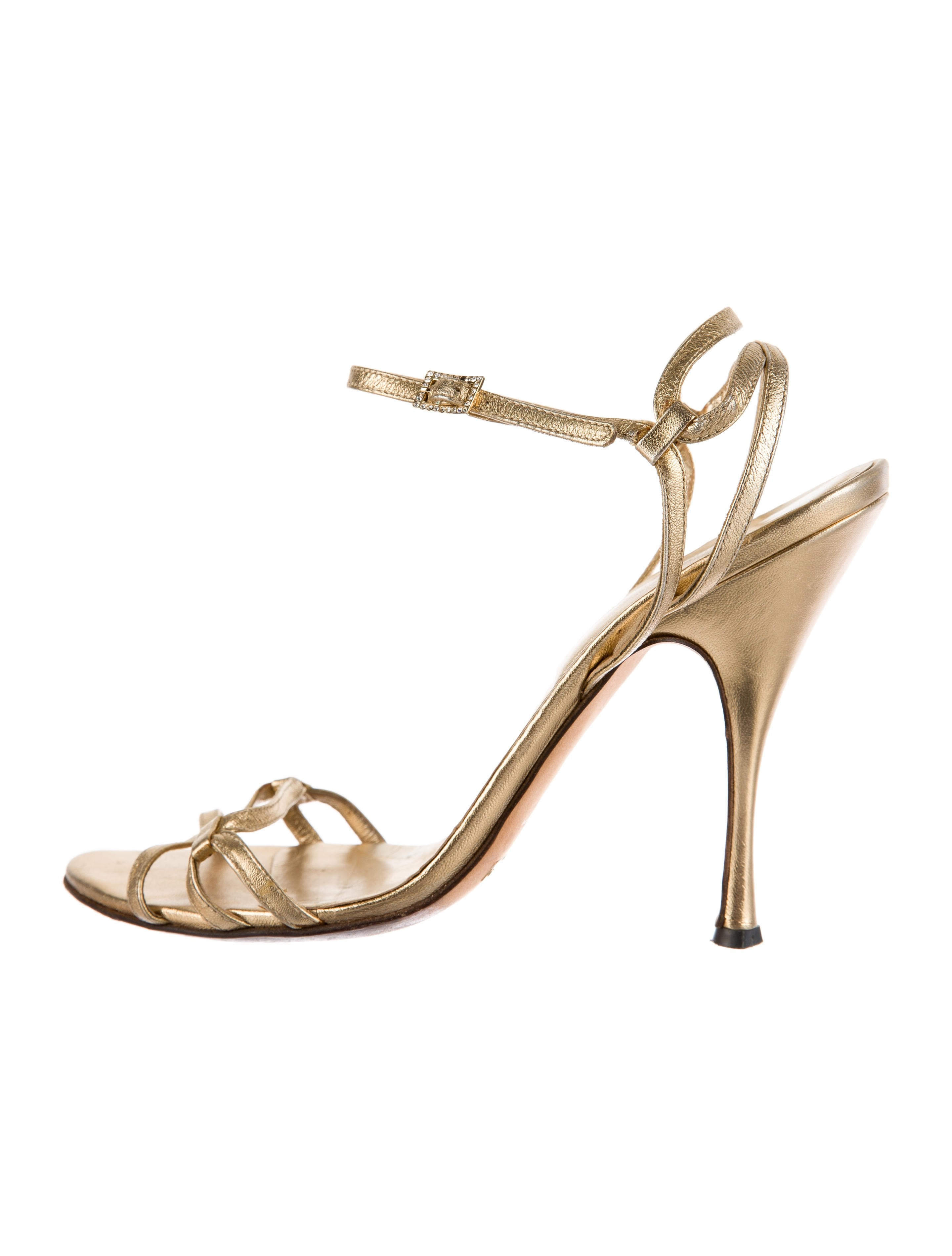 aff902669e22 Dolce   Gabbana Metallic Leather Sandals - Shoes - DAG95085