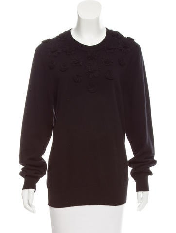 Dolce & Gabbana Floral Appliqué-Accented Cashmere Sweater w/ Tags None