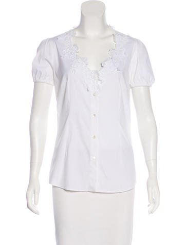 Dolce & Gabbana Lace-Trimmed Button-Up Top None