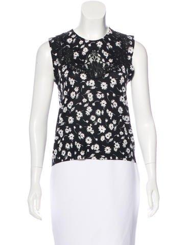 Dolce & Gabbana Sleeveless Floral Print Top None
