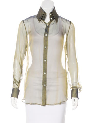 Dolce & Gabbana Sheer Button-Up Top None