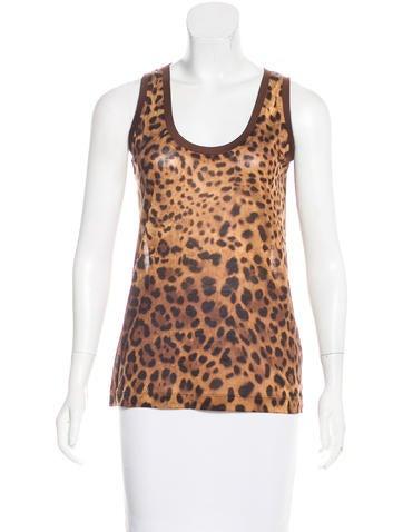 Dolce & Gabbana Silk Leopard Print Top None