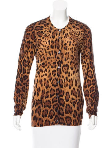 Dolce & Gabbana Leopard Printed Wool Cardigan None