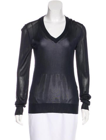 Dolce & Gabbana Semi-Sheer Rib Knit Sweater None