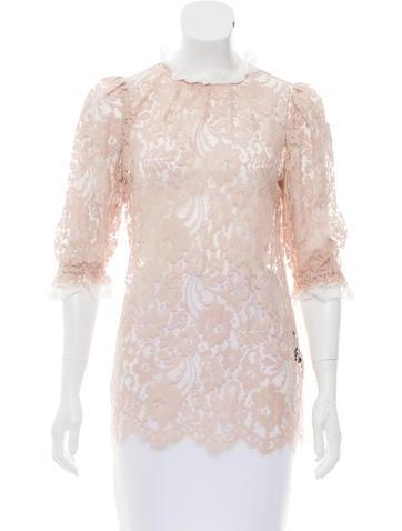 Dolce & Gabbana Three-Quarter Sleeve Lace Top None