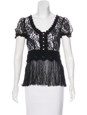 Dolce & Gabbana Lace Short Sleeve Top None