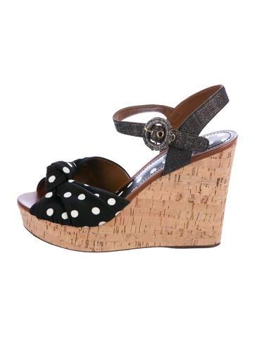 Dolce & Gabbana Polka Dot Wedge Sandals None