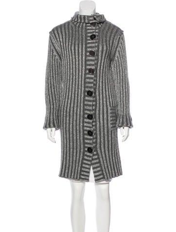 Dolce & Gabbana Rib Knit Metallic Cardigan None