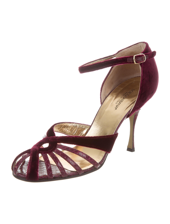 free shipping looking for cheap footlocker Dolce & Gabbana Velvet Python-Trimmed Sandals footlocker sale online buy cheap order cheap sale Manchester bggVY1igQ