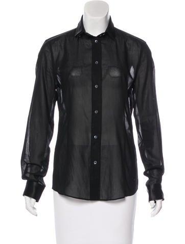 Dolce & Gabbana Silk-Trimmed Button-Up Top None