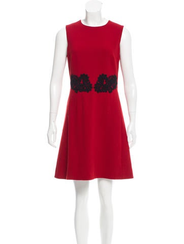 Dolce & Gabbana Lace-Accented Wool Dress None