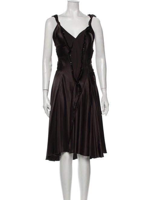 David Szeto Silk Midi Length Dress Brown