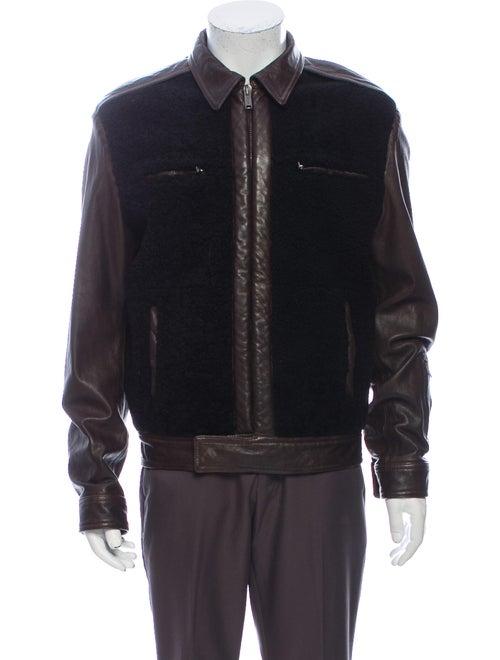 Damir Doma Shearling Colorblock Pattern Jacket Bla