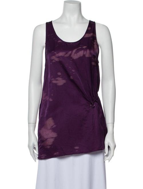 Damir Doma Printed Scoop Neck Top Purple