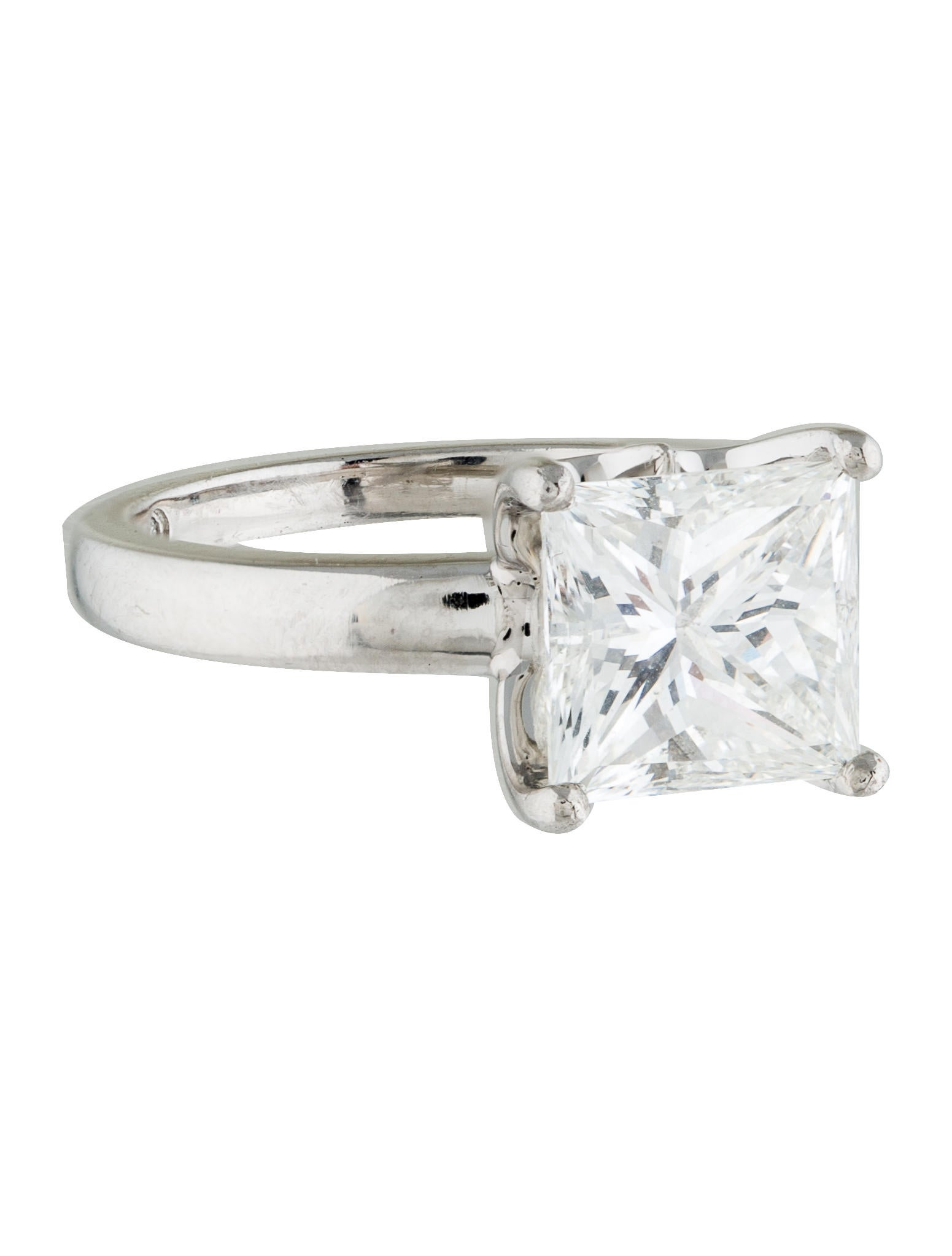 De beers platinum 245ct princess cut diamond engagement for Platinum princess cut wedding rings