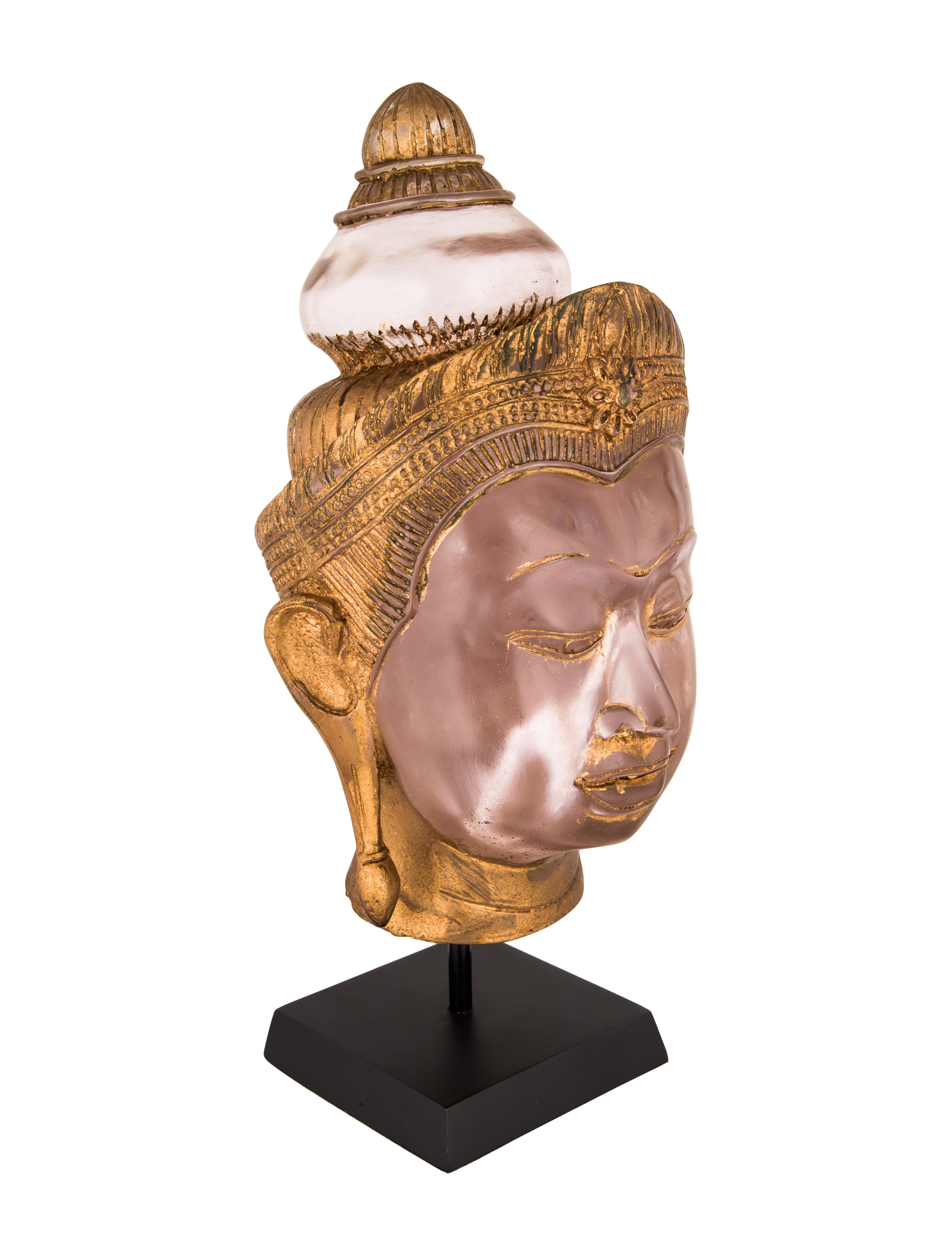 gilded resin buddha head decor and accessories decor21205 the realreal. Black Bedroom Furniture Sets. Home Design Ideas