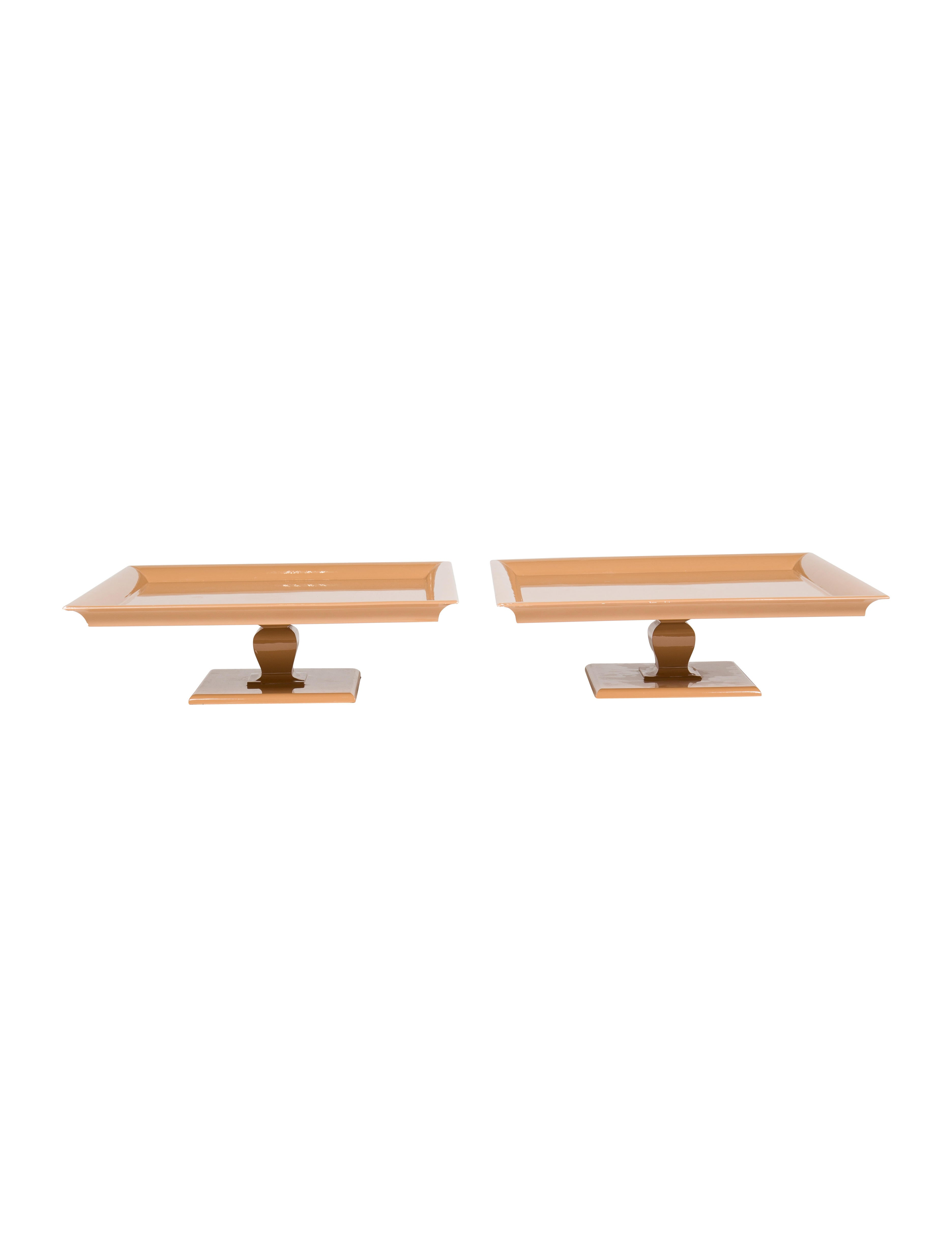 Pair Of DK Living Camel Wood Lacquer Trays