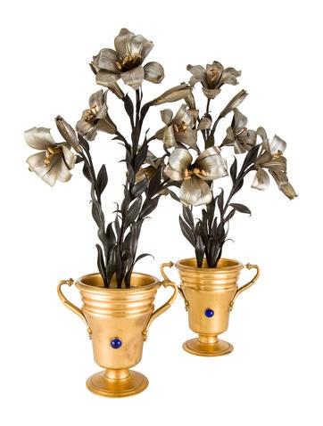 Pair of Vintage Bouquet Sculptures None